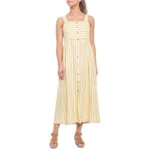 RACHEL ZOE Striped Button Front Linen Maxi Dress